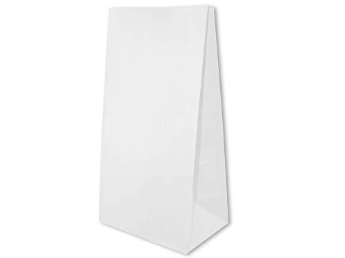 50 bolsas de papel, 19 x 13 x 37 cm, color blanco, bolsas de papel, bolsas de la compra, sin asas, bolsas de panadería