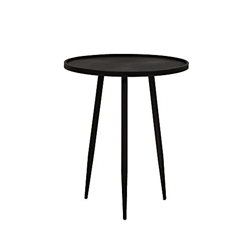 Light and Living - Table d'appoint Industrielle Acier et Bois Noir ENVIRA