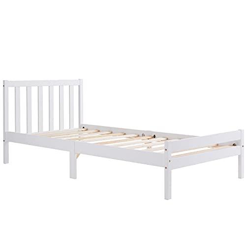 SUSIELADY - Struttura letto in legno massiccio, per letto singolo, 90 x 190 cm, per adulti, bambini, ragazzi, 90 x 190 cm, colore: Bianco