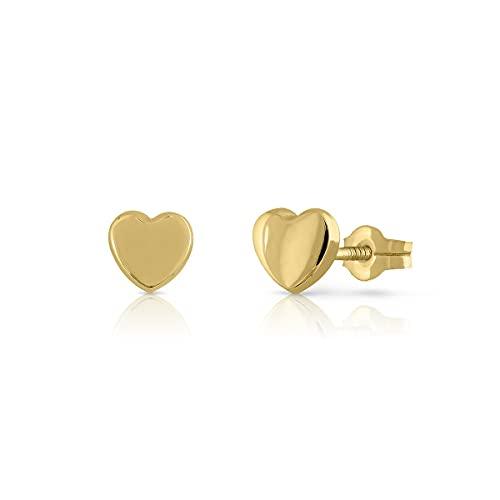 Pendientes Oro de Ley Certificado/Niña/Mujer. Diseño Corazón. Cierre de presión. Medida 6 mm. (1-3576)