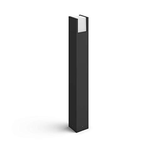 Philips Hue Fuzo Poste o columna exterior negro LED inteligente, luz blanca cálida regulable, compatible con Amazon Alexa, Apple HomeKit y Google Assistant