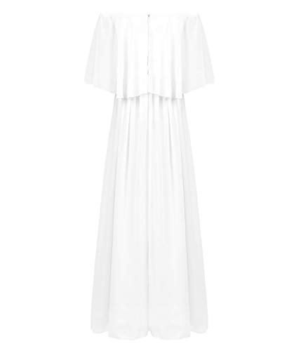 CHICTRY Kids Youth Girls Vintage Style Wedding Party Long Gown Off The Shoulder Chiffon Flower Girl Dress White 16