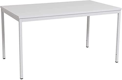 Furni24 Rechteckiger Universaltisch mit laminierter Platte, Metallgestell und verstellbaren Füßen, ideal im Homeoffice…