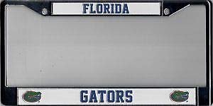Bhartia Florida Gators Chrome License Plate Frame Metal Tag Holder 12' X 6'