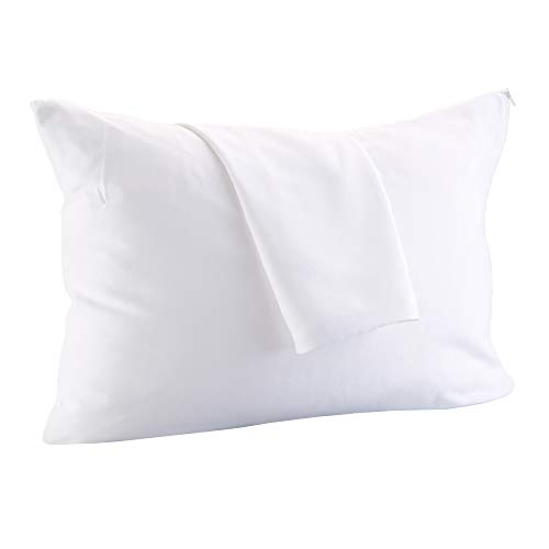 Great Bay Home 4-Pack 100% Cotton Pillow Protectors. 400 Thread Count Hypoallergenic Pillow Cover. Dust Mite, Bed Bug Cover, Zippered Pillow Protectors.(Standard Size)