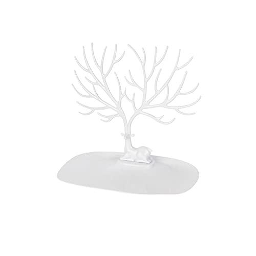 LICHUAN Soporte de joyería para colgar en el árbol de las torres de joyería para collares, pulseras, pendientes, soporte de joyería (color: blanco)