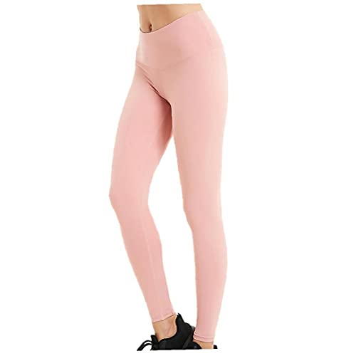 Pantalones De Yoga Pantalones Sin Fisuras Pantalones De Yoga De Tejer De Punto Gimnasio Leggings Mujeres Alta Cintura Pulta Control Deportes Entrenamiento De Deportes Correr Medias Pink M