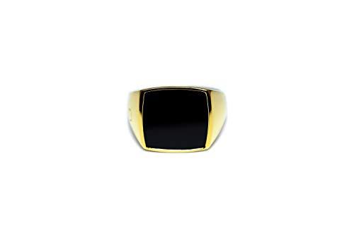 Sprezzi Fashion Golden zegelring heren massief 925 sterling zilver 18k verguld voor gravure of onyx steen | minimalistische mannenring sieraden uit Duitsland