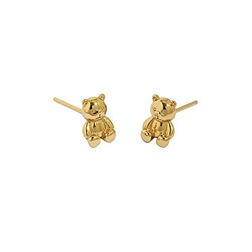 Pendiente de botón de oso pequeño de oro simple de plata esterlina joyería de cristal pequeña para mujer joyería de fiesta de boda oro