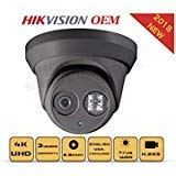 4K PoE Security IP Camera - Compatible as Hikvision DS-2CD2385FWD-I UltraHD 8MP Turret Onvif IR Night Vision Weatherproof WideAngle 2.8mmLens Grey Color Case Best Home Business Security 3Year Warranty