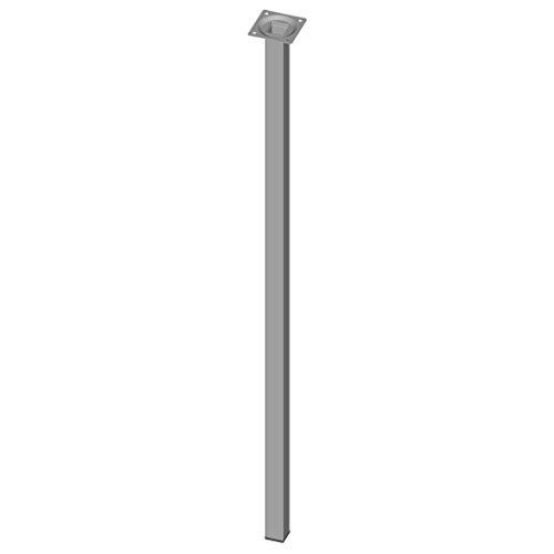 Element System 4 Stück Stahlrohrfüße eckig, Tischbeine, Möbelfüße inklusive Anschraubplatte, 80 cm, 10 Abmessungen, weiß / aluminium, 4 farben, 18133-00315
