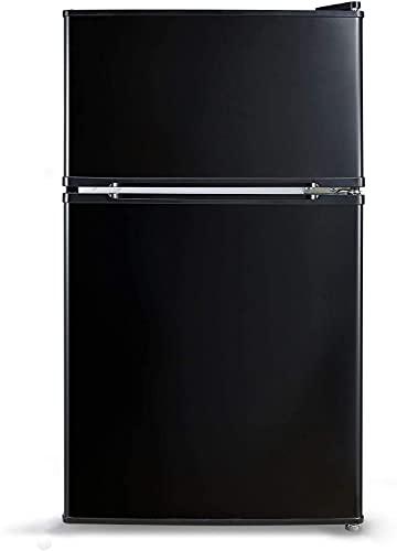 Compact Refrigerator with LED Light, Mini Fridge with Freezer, 3.1 Cu.Ft Small Refrigerator, 2 doors, Mini Fridge for Bedroom, Office, Dorm, RV, Garage, Stainless Steel Sliver