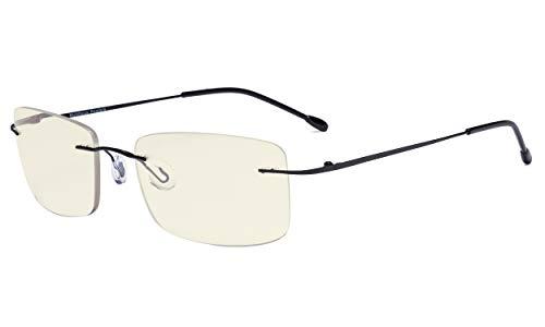 Eyekepper Randlose Gleitsichtbrille Multifokus- Blaulichtfilter Lesebrille Filter Damen und Herren Schwarz +2.50