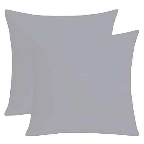 Homely Ideas - Federa per cuscino, 30 x 30 cm, 100% policotone, tinta unita, facile da pulire, colore: grigio, 30 x 30 cm