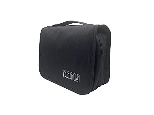 旅行用トイレタリーバッグ 洗面バッグ トラベルバッグ 化粧ポーチ 収納袋 吊り下げ可能 面ファスナー ブラック