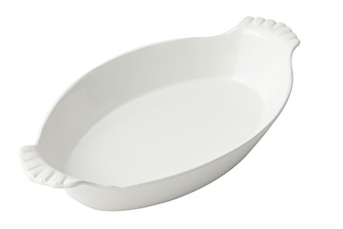 "Bon Chef 5025 Aluminum Oval Augratin Dish, 2-Quarts Capacity, 15"" Length x 8-1/2"" Width, Sandstone White (Pack of 3)"