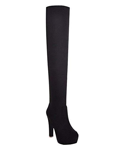 Minetom Mujer Invierno Moda Suede De La Rodilla Botas Tacón Alto Puntera Redonda Zapatos Botas Negro EU 36