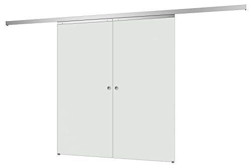 inova Doppeltür Glas-Schiebetür 2-Flügelig 1760 x 2035 mm satiniert Alu Komplettset mit Lauf-Schiene und Muschel-Griff