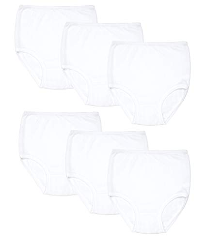 Bragas Altas 100% algodón Clásicas Caladas de Mujer Suaves y cómodas (Pack de 6 Blanco, XXL)