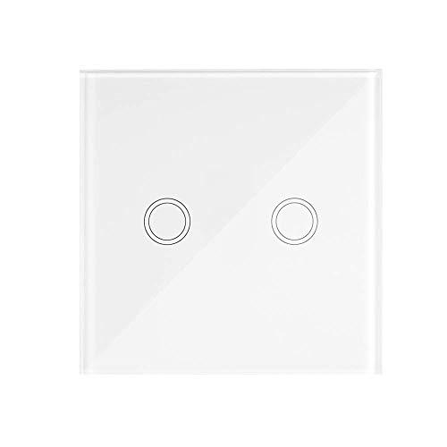 OWSOO Wand Touch Panel Fernbedienung Schalter, 2 Gang, eWeLink Klebrig 433 MHz Drahtlose RF-Fernbedienung Fernschalter, für Alle SONOFF RF 433 MHz Produkte Steuern Treppenlicht Lampe