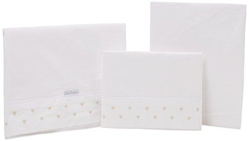 Petit Lazzari Lot de 3 draps pour berceau Motif cœurs Beige 70 x 140 cm