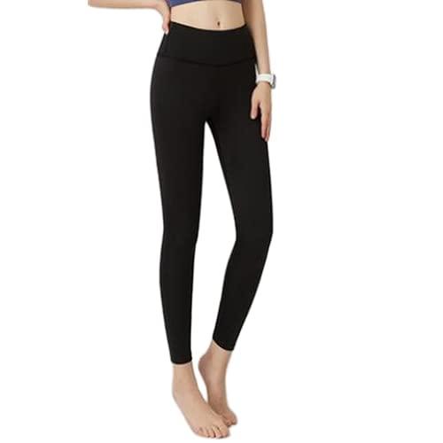 QTJY Pantalones de Yoga Delgados de Moda Nalgas de Cintura Alta Pantalones de Yoga Desnudos elásticos Correr Deportes Fitness Medias de transpiración AL