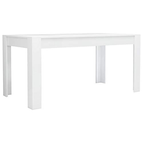 vidaXL Esstisch Minimalistischer Stil Elegant Küchentisch Esszimmertisch Speisetisch Tisch Esszimmer Küche Hochglanz-Weiß 160x80x76cm Spanplatte
