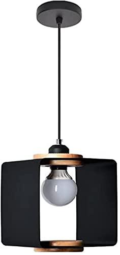 JLFFYJ Araña Cuadrada Metal lámpara Colgante luz iluminación geométrica Colgantes nórdica Mini Madera araña Sala de Estar salón salón luz de Techo