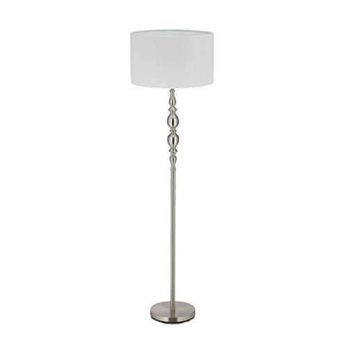Relaxdays Lámpara de pie para salón, E27, con Cable, Pantalla de Tela de 43 cm de diámetro, Estilo Vintage, 155 cm de Alto, Color Blanco y Plateado