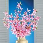 AllYourNeedz.Set of 3 Springtime Artificial Pink Forsythia Bushes