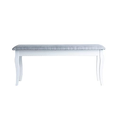 Lastdeco Banco Madera Decorativo. Taburete para Pie de Cama. Banqueta para Dormitorio, Recibidor y Salon. Estilo Nordico. Color Blanco y Gris. 100 x 35 x 44 cm.