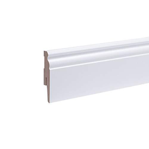 Leiste24 All Inclusive Paket 48m Sockelleisten Berliner Profil 80mm Weiß