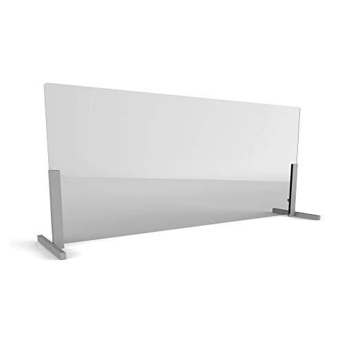 Linea Italia Acrylic Transparent Office Desk Barrier Sneeze Guard Shield Protection, 24' x 72', 24' x 72' x 0.125', Clear