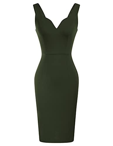 GRACE KARIN Women Sleeveless Deep V Neck Casual Cocktail Pencil Dress Army Green