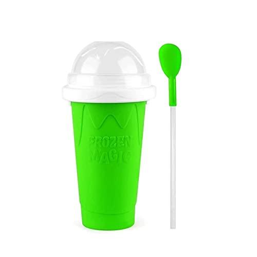 FGDJTYYJ Tazas de Pellizco de Taza de Batido de Bricolaje, Exprimidor de Máquina de Helado Fangoso, Botellas de Batido de Taza de Enfriamiento Rápido - Color Seleccionado (Color : Green)