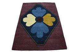 Tela-Teppich Tapis Design 150 x 230 cm 100% Laine essuie-Mains Violet/Bleu crème