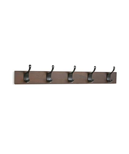 AmazonBasics - Perchero de madera de pared, 5 ganchos modernos 57 cm, Nogal, 2 unidades