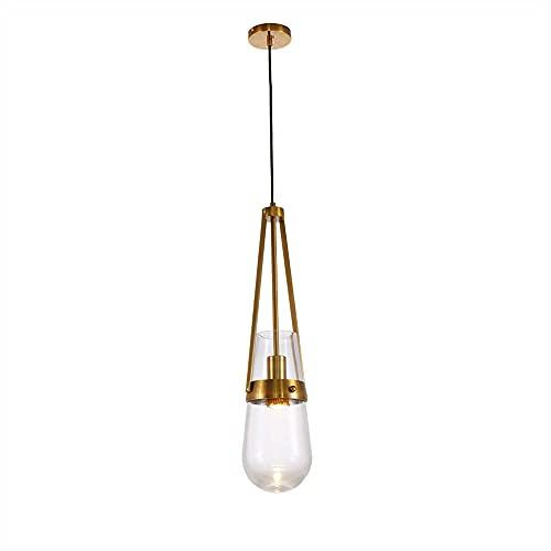 Siet Iluminación Colgante Pantalla de Vidrio Luces de Isla de Cocina con Gota de Metal Dorado, Lámpara Colgante Elegante Junto a la Cama del Dormitorio, Lámpara de suspensión para Comedor, Lámpara de