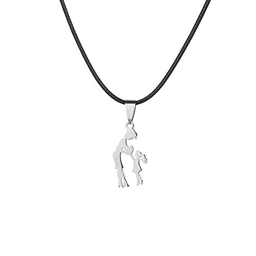 Día de la Madre Colgante de plata de oro cordón de cuero collar de titanio joyas de acero (oro 2)