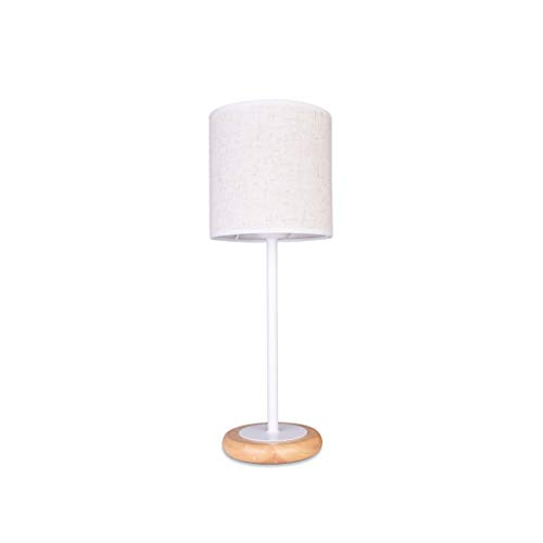 Eva wan Table Lamp Simple Modern Solid Wood Fabric Warm Bedroom Bedside Lamp Decoration Living Room Wood Color Warm Light Three-Speed Dimming