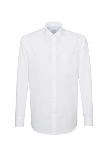 Seidensticker Herren Business Hemd Modern Fit – Bügelfreies Hemd mit geradem Schnitt, Kent-Kragen & Brusttasche – Langarm – 100% Baumwolle , Weiß (01 weiß) , 42