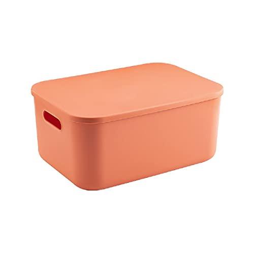 Caja almacenamiento,Contenedores almacenamiento decorativos con tapa,Plástico,con asas,a prueba de humedad,para almacenamiento que ahorra espacio,para ropa,cosméticos,bocadillos,juguetes,Orange-L