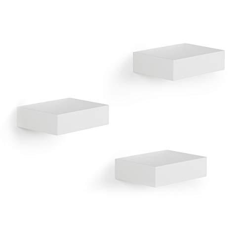 UMBRA Showcase Étagères. Lot de 3 mini étagères en bois laqué blanc