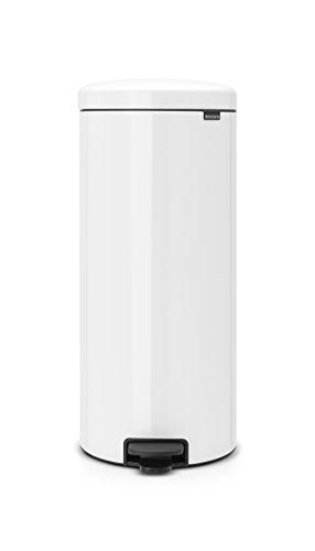Brabantia Bin Newicon-Cubo de Basura con Pedal, Acero, 30 l, Color Blanco, Inoxidable