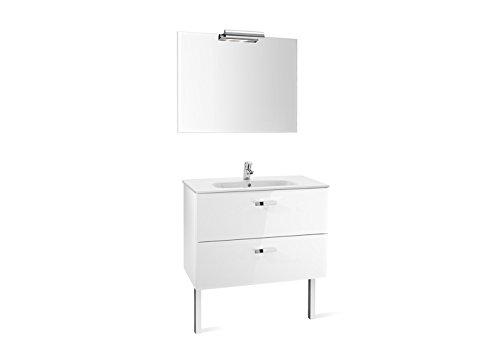Roca A855856806 - Pack Victoria Basic 1000 Blanco (mueble base, lavabo, espejo y aplique)