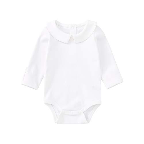 pureborn Baby Boy Girl Christening Long Sleeve Cotton Bodysuit Solid Onesies White 18-24 Months