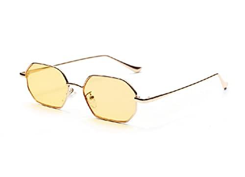 JINZUN Gafas de Sol con Montura de Metal Montura pequeña Lentes de Color Transparente oceánico Moda Anti-UV Ojos Amarillo