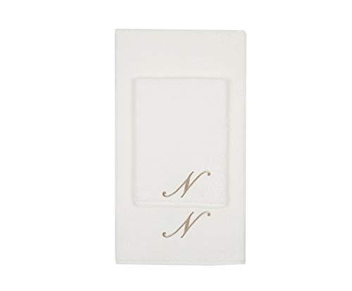 Juego de toallas con inicial bordado, toalla para la cara, toalla de invitados, iniciales bordadas, fabricadas en Italia, color crema bordado letra N color gris tostado