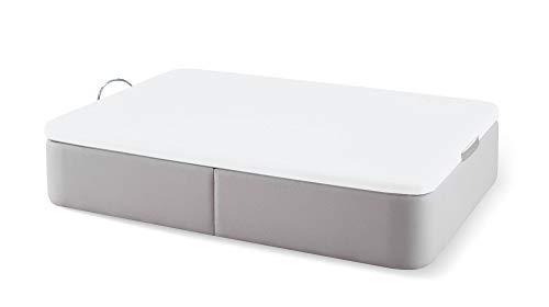 Naturconfort Canapé Abatible Tapizado Premium Color Ecopel Plata Brillo Tapa 3D Blanca 80x190cm Envio y Montaje Gratis