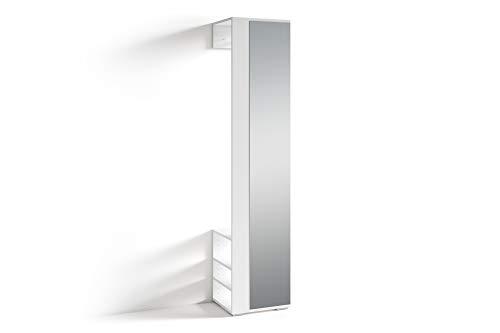 HOMEXPERTS Flurgarderobe BENNO / Garderobe weiß mit Spiegel / Spiegelschrank für den Flur mit Kleiderstange und Ablage / 40 x 184 x 35 cm (BxHxT)
